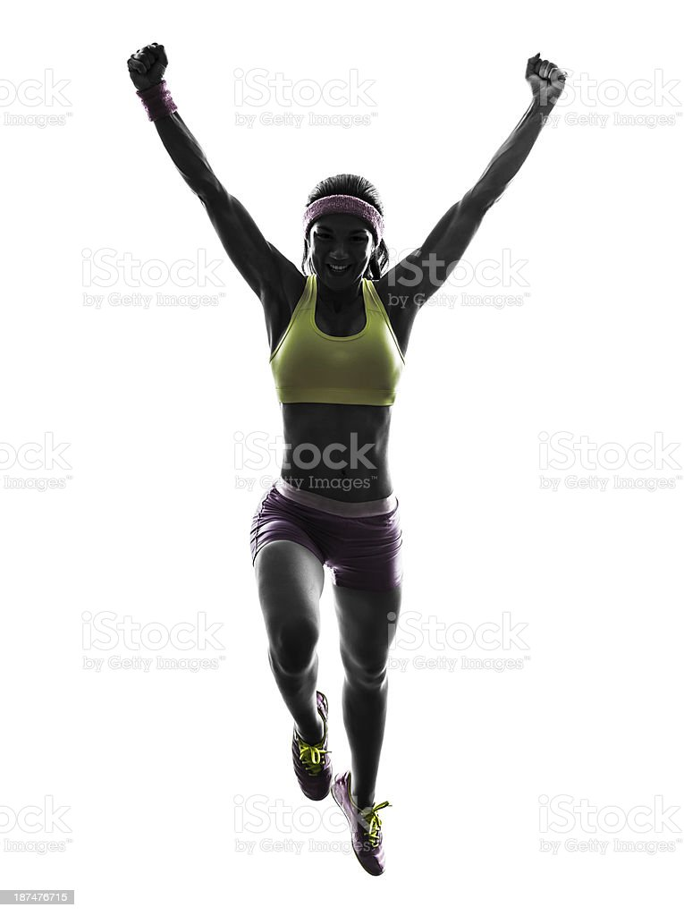 woman runner running jumping silhouette royalty-free stock photo