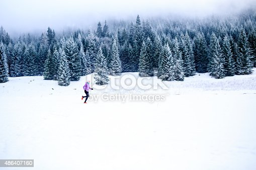 484750230 istock photo Woman running in winter, fitness inspiration and motivation 486407160