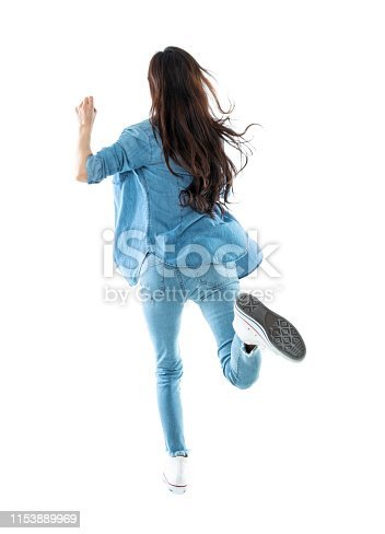 Woman running on white background.