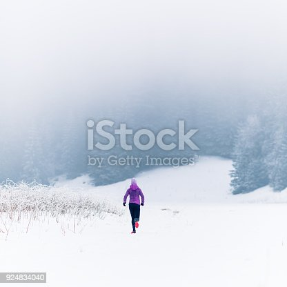 484750230 istock photo Woman running on winter trail, fitness inspiration and motivation 924834040