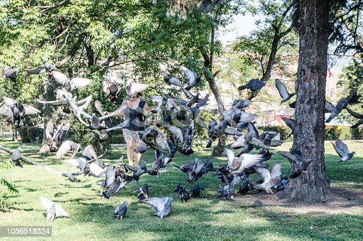Woman running through a flock of pigeons in a public park in Krakow Poland during summer day