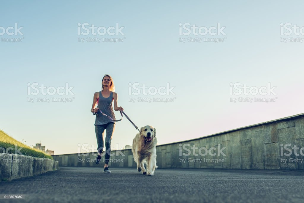 Woman running with dog stock photo