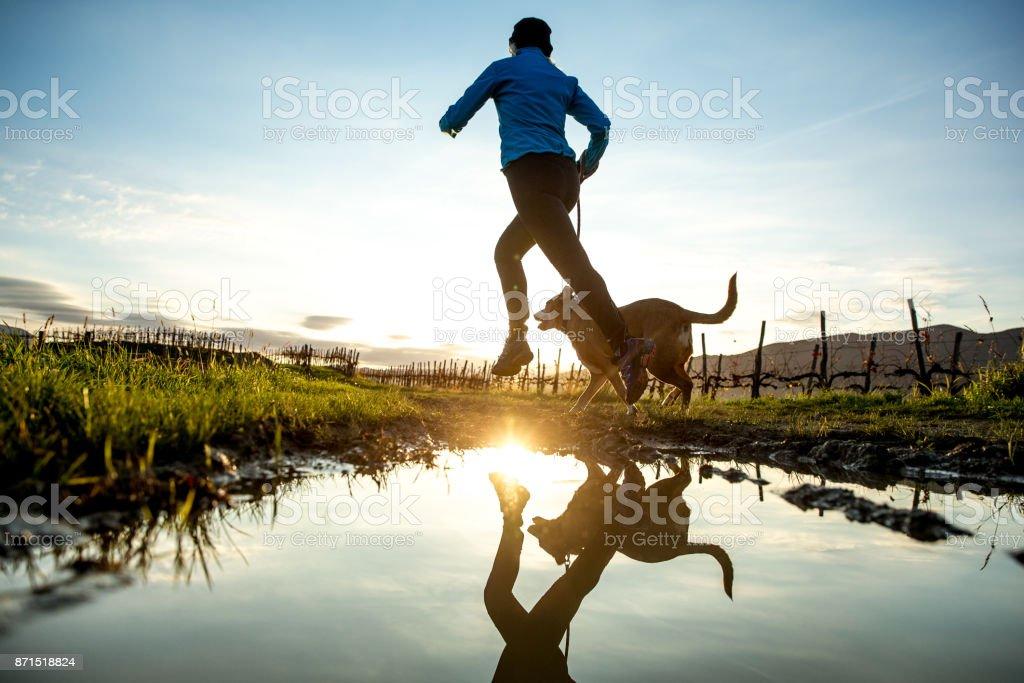 Köpeğiyle çamurlu toprak yolda çalışan kadın stok fotoğrafı