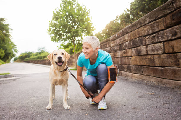 Woman running with her dog Mature woman jogging with her dog female animal stock pictures, royalty-free photos & images