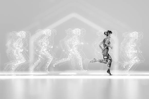Woman running with various data screens stock photo