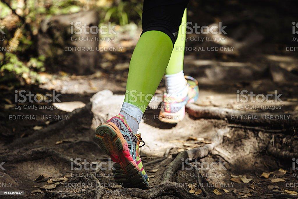 woman runs marathon in woods trail earth stock photo