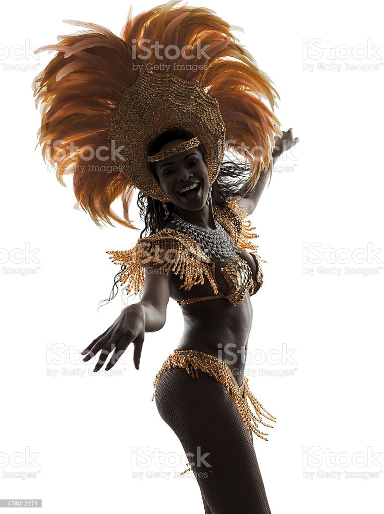 woman samba dancer silhouette stock photo