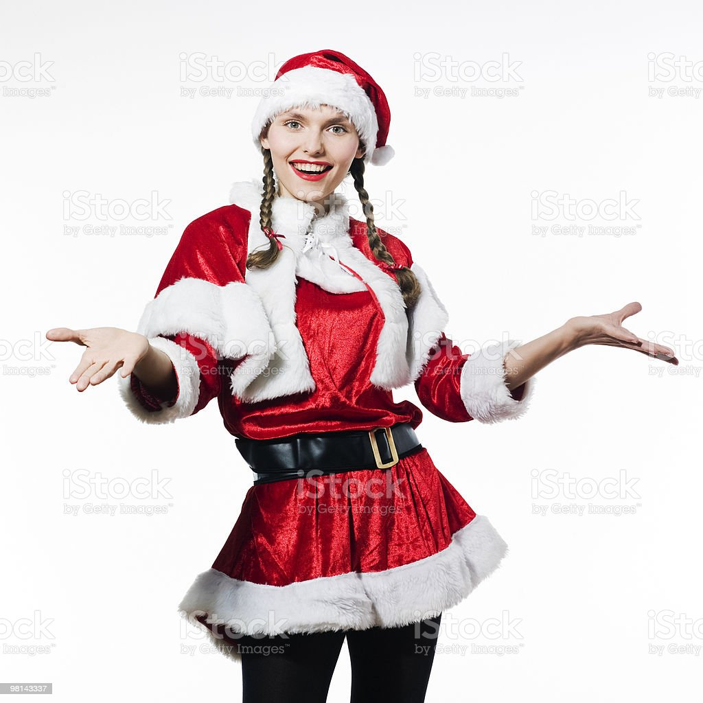 woman santa claus Christmas welcoming royalty-free stock photo