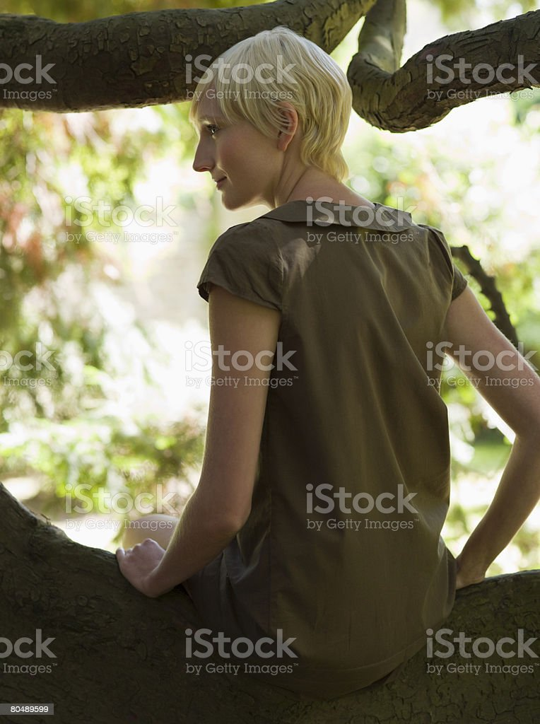 A woman sat in a tree royalty-free stock photo