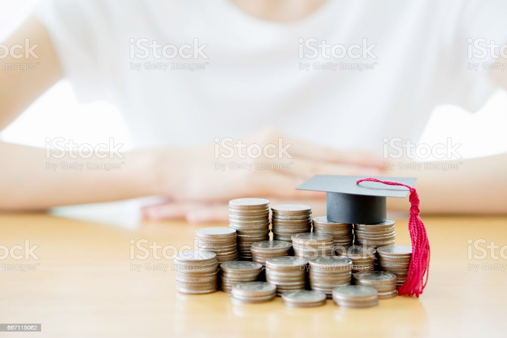 Woman saving education coins – Foto