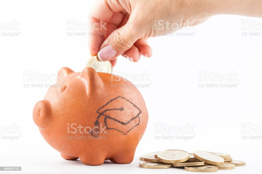 Woman saving money into a traditional clay piggy bank to study stock photo
