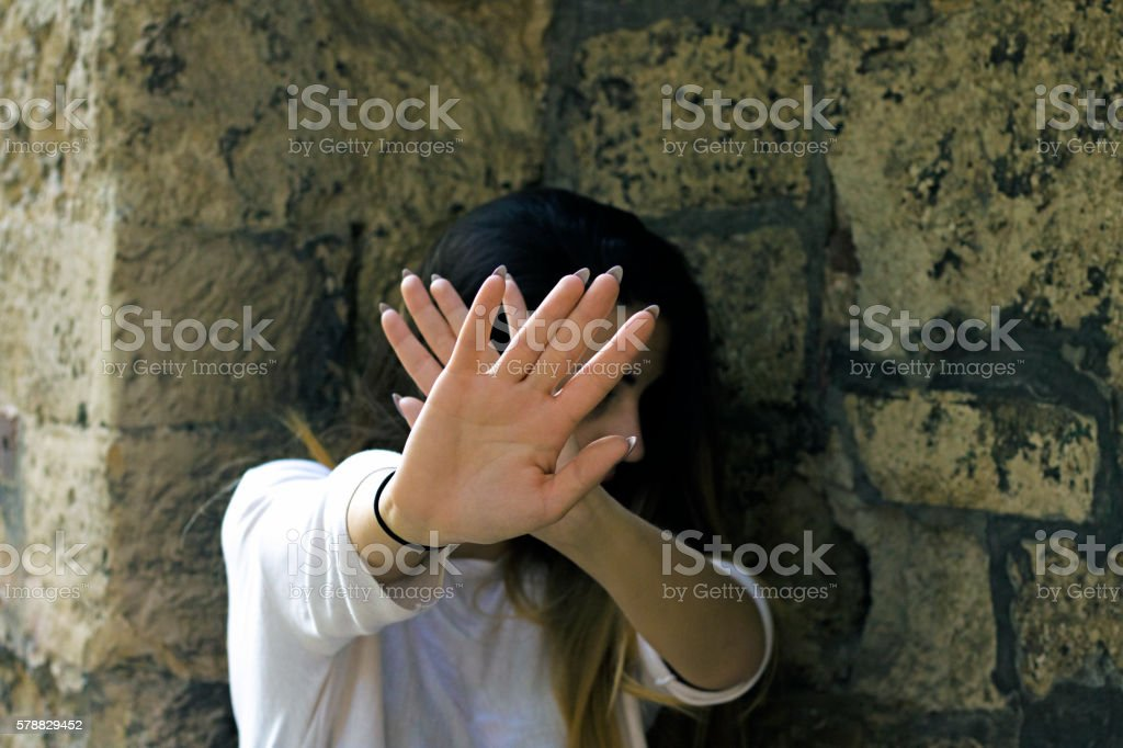woman says stop. Stop Gesture. Stay Away stock photo