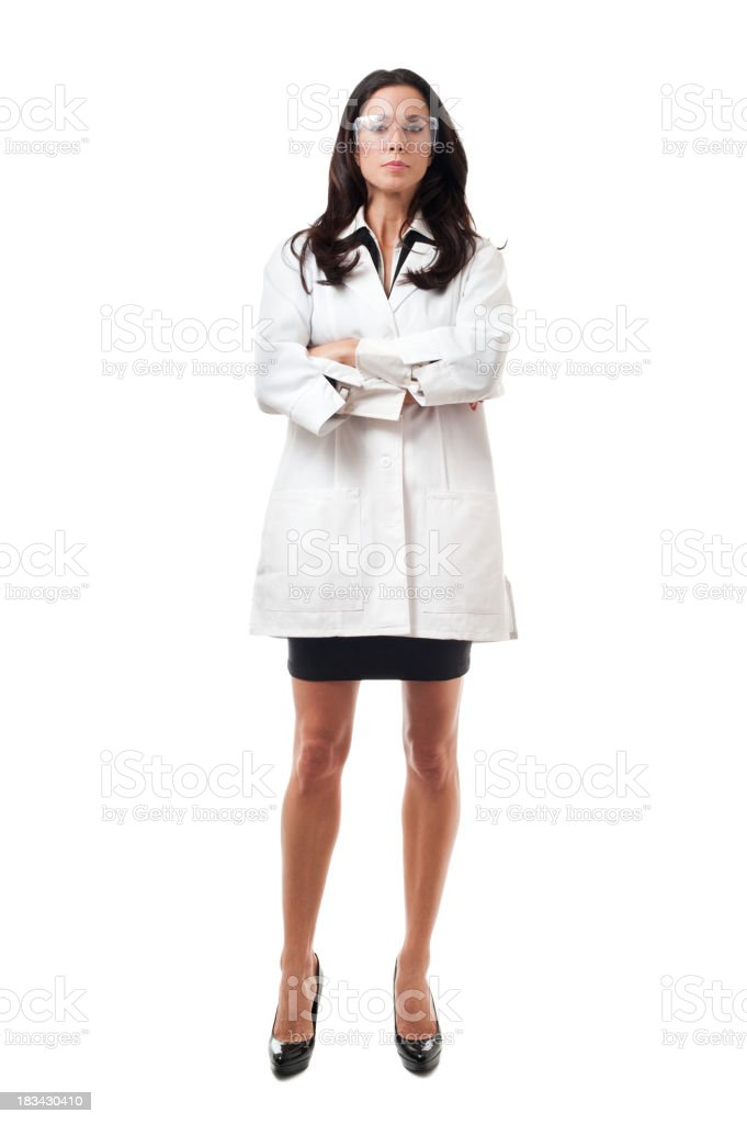 Woman Scientist Engineer in lab coat Isolated on White Background royalty-free stock photo