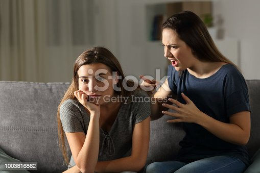969532194 istock photo Woman scolding her friend who is looking at camera 1003816862