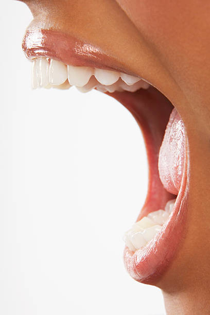 Woman Screaming On White Background Closeup of woman screaming with mouth wide open over white background mouth open stock pictures, royalty-free photos & images