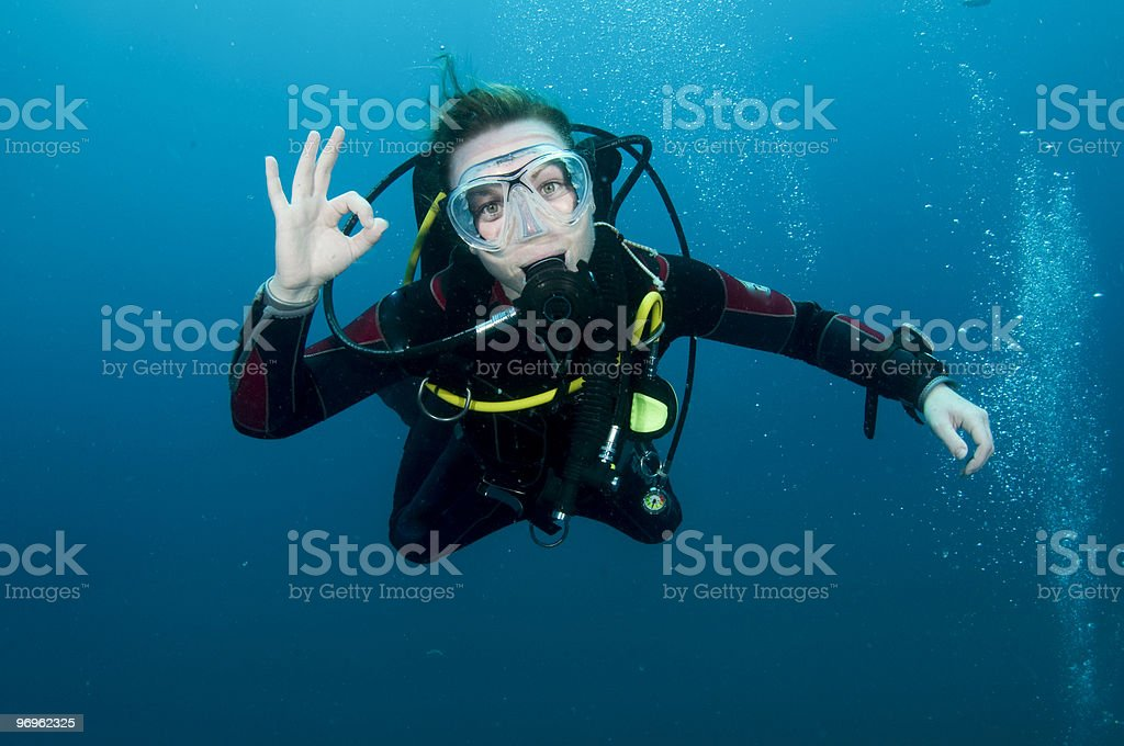 woman scuba diver stock photo