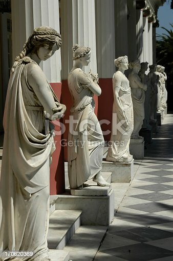 Sculptured figure. Achilion palace, Benitses - Corfu, Greece.