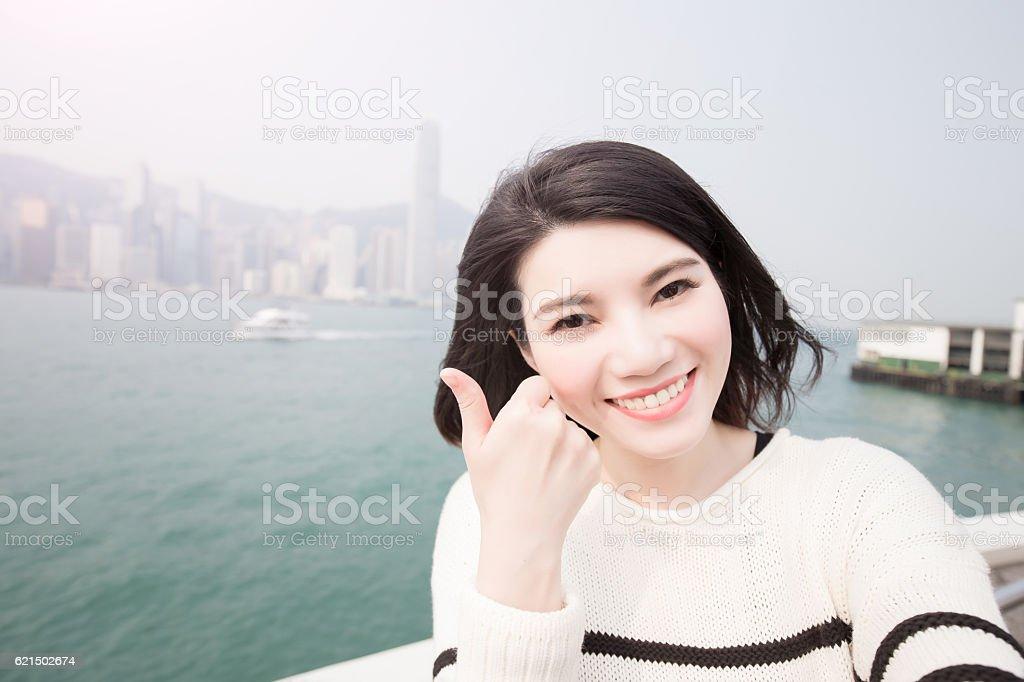 woman selfie  in hongkong foto stock royalty-free