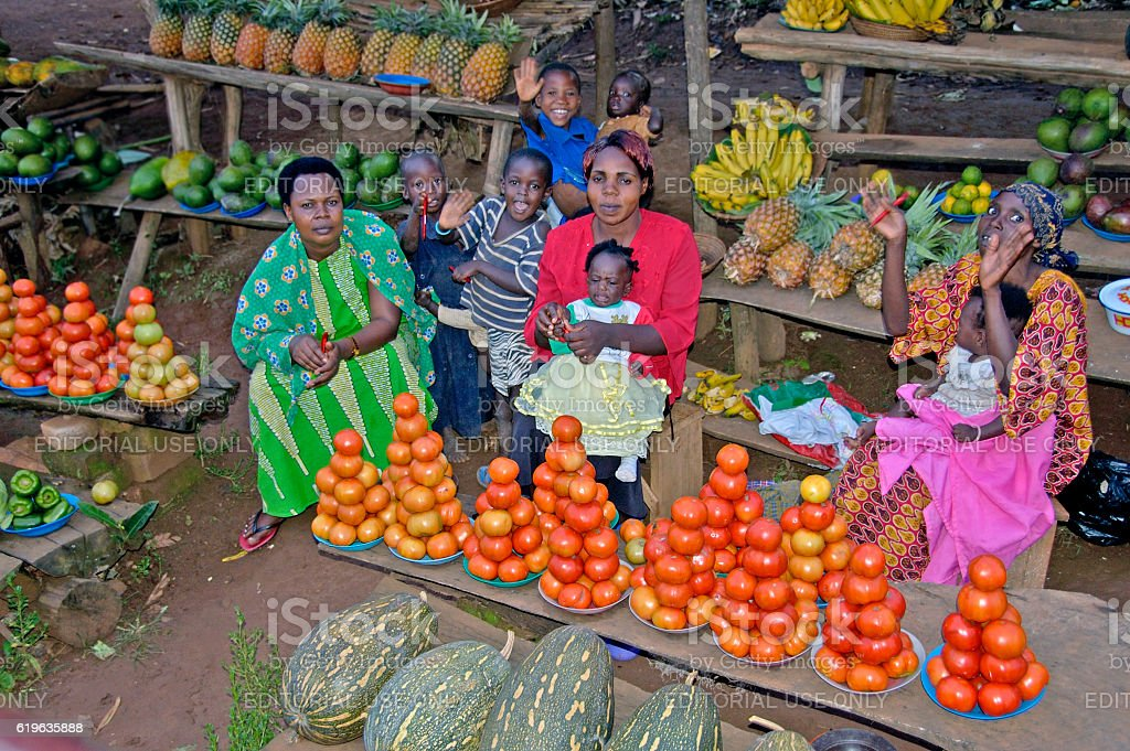 Woman sell vegetables. stock photo
