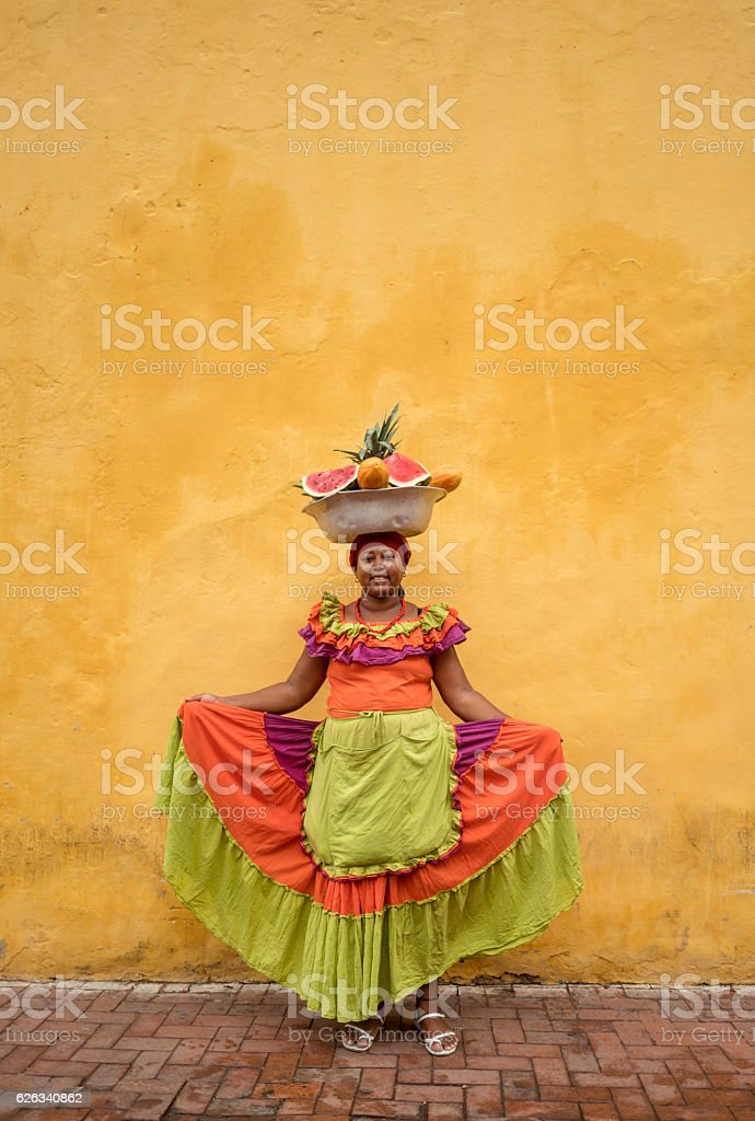 Woman selling fruits in Cartagena ストックフォト