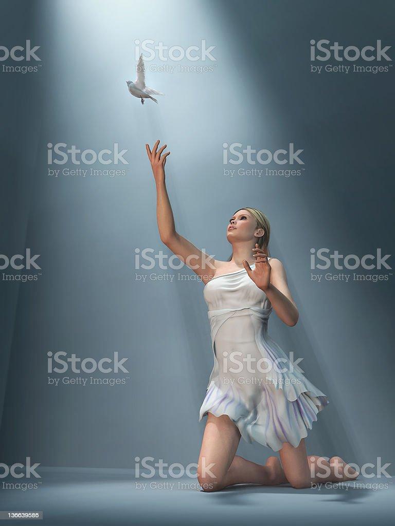 woman send white dove stock photo