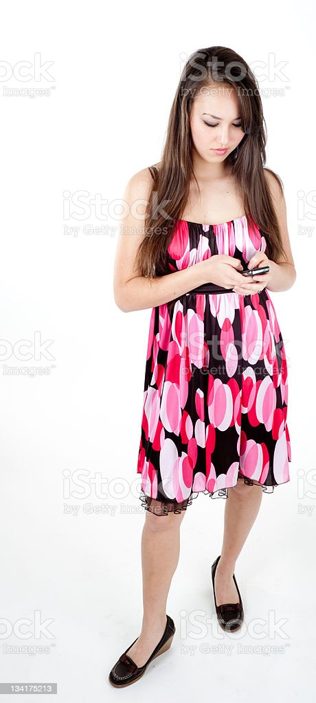 Woman sending a text message royalty-free stock photo