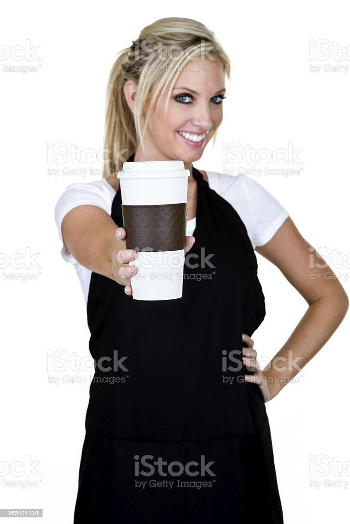 Woman serving coffee royalty-free stock photo