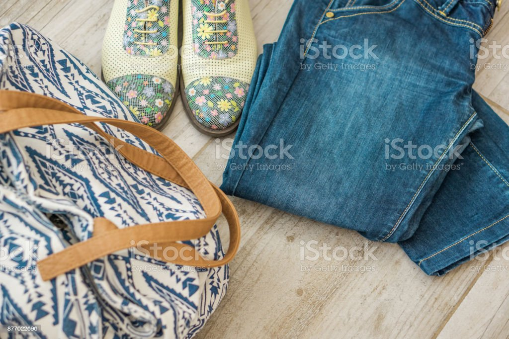 a365565e7c Woman set, ladies' clothing, shoes perfumes and bag. On vintage background  place