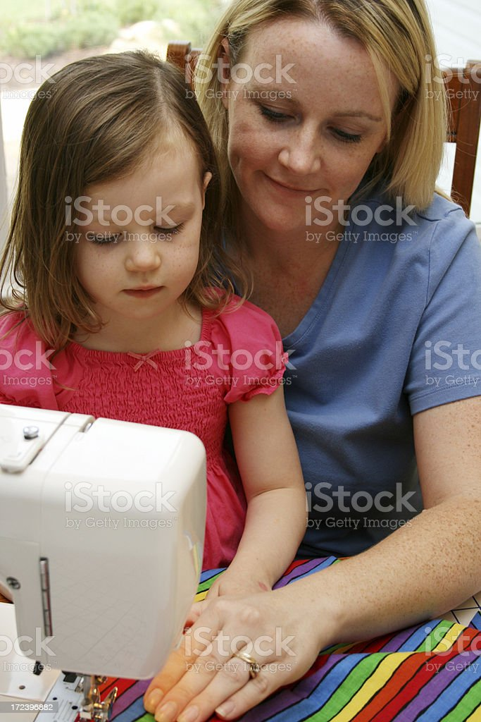 Woman Sewing royalty-free stock photo