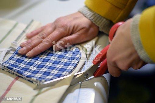 Woman Sewing Protective Face Masks