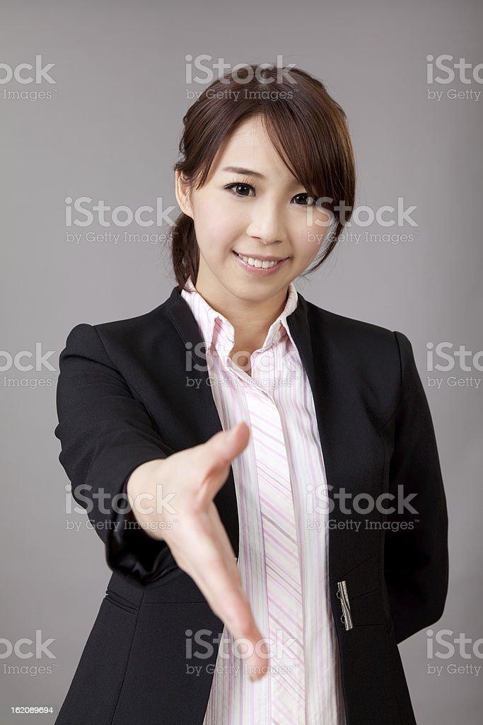 woman shake hand royalty-free stock photo