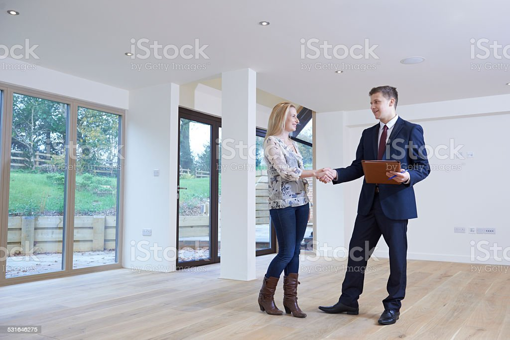 Woman Shaking Hands With Estate Agent In New Home stock photo