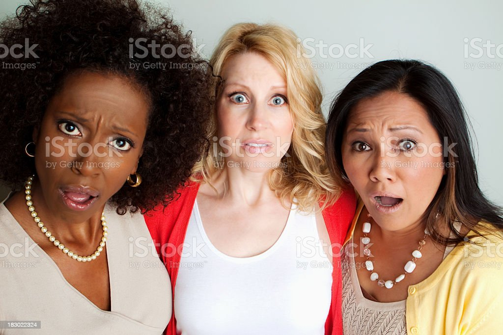 Woman shocked and surprised stock photo