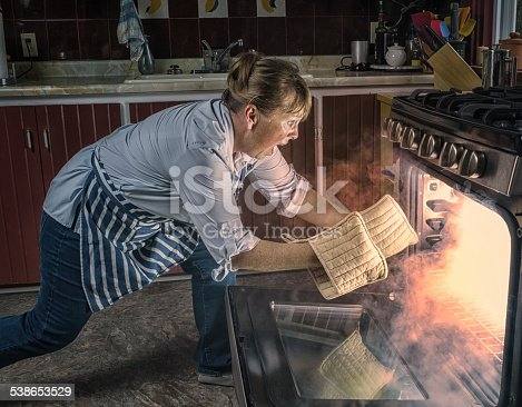 Woman  Shocked  at Oven Fire While Cooking in the Kitchen.  Smoke comes from the oven as she leans in with pot holders to reach in. Copy space.   Leica camera photograph.