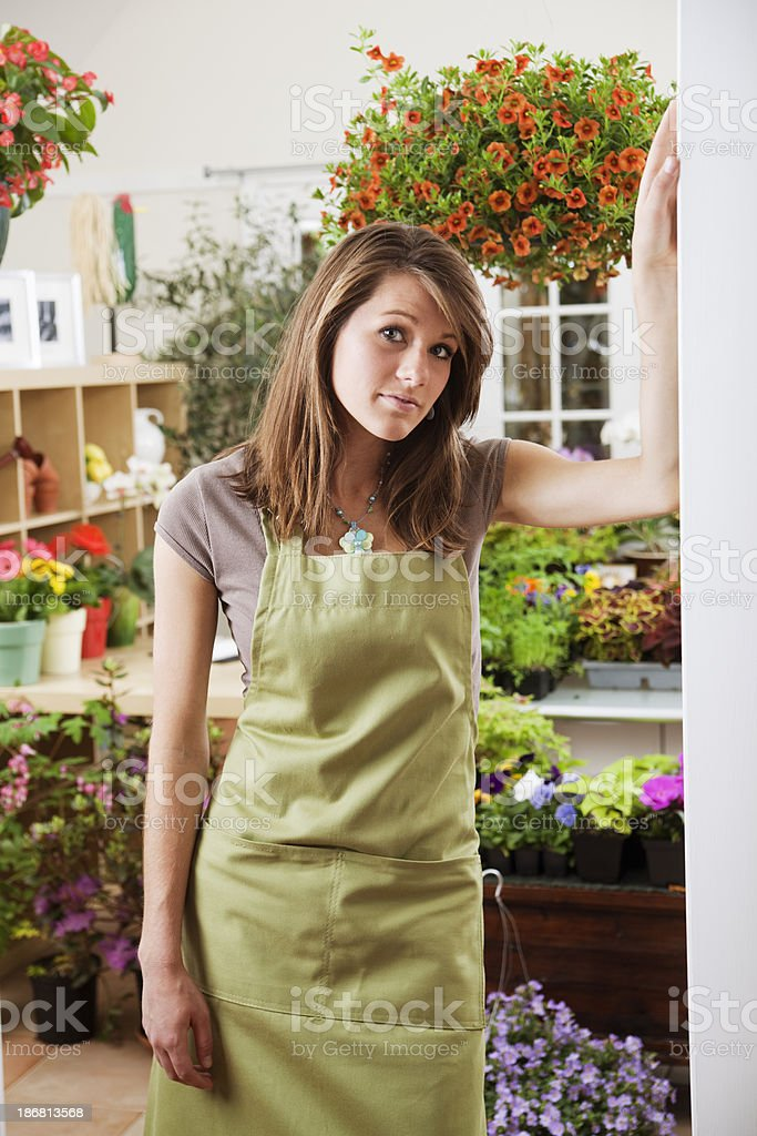 Woman Shopkeeper of Flower Store Retail Small Business Vt royalty-free stock photo