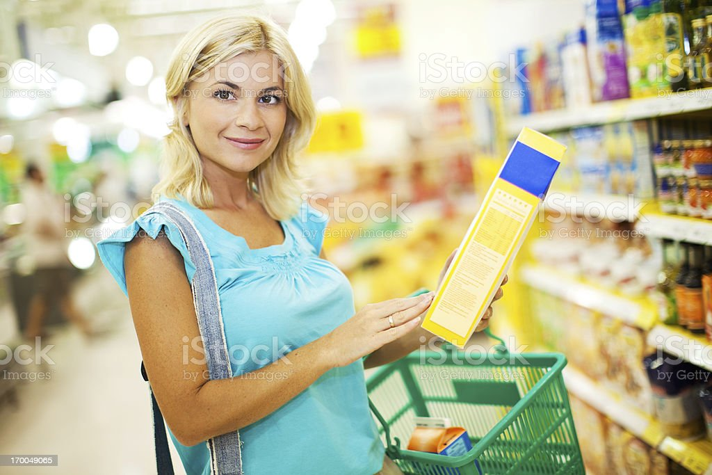 Woman shopping cereals royalty-free stock photo
