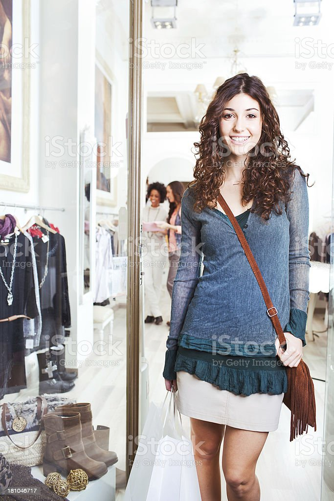Woman shopping for clothes. royalty-free stock photo