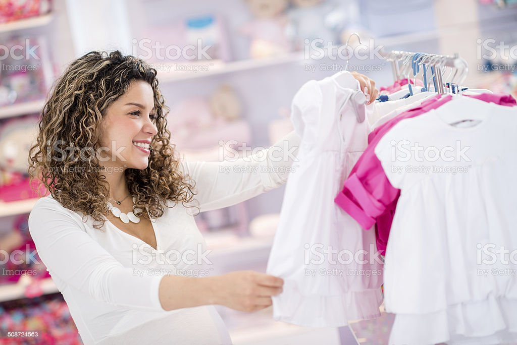Woman shopping for her baby stock photo