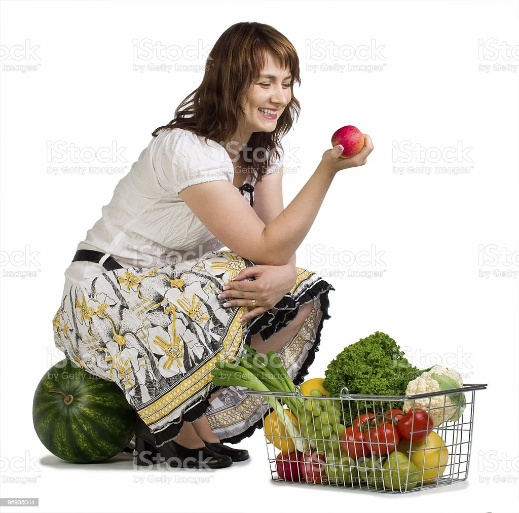 Woman shopping for vegetables royalty-free stock photo