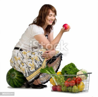 Woman Shopping For Vegetables Stock Photo & More Pictures of Adult
