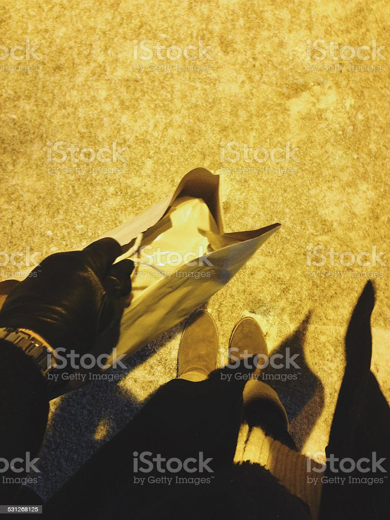 POV: woman shopping on a snowy day royalty-free stock photo