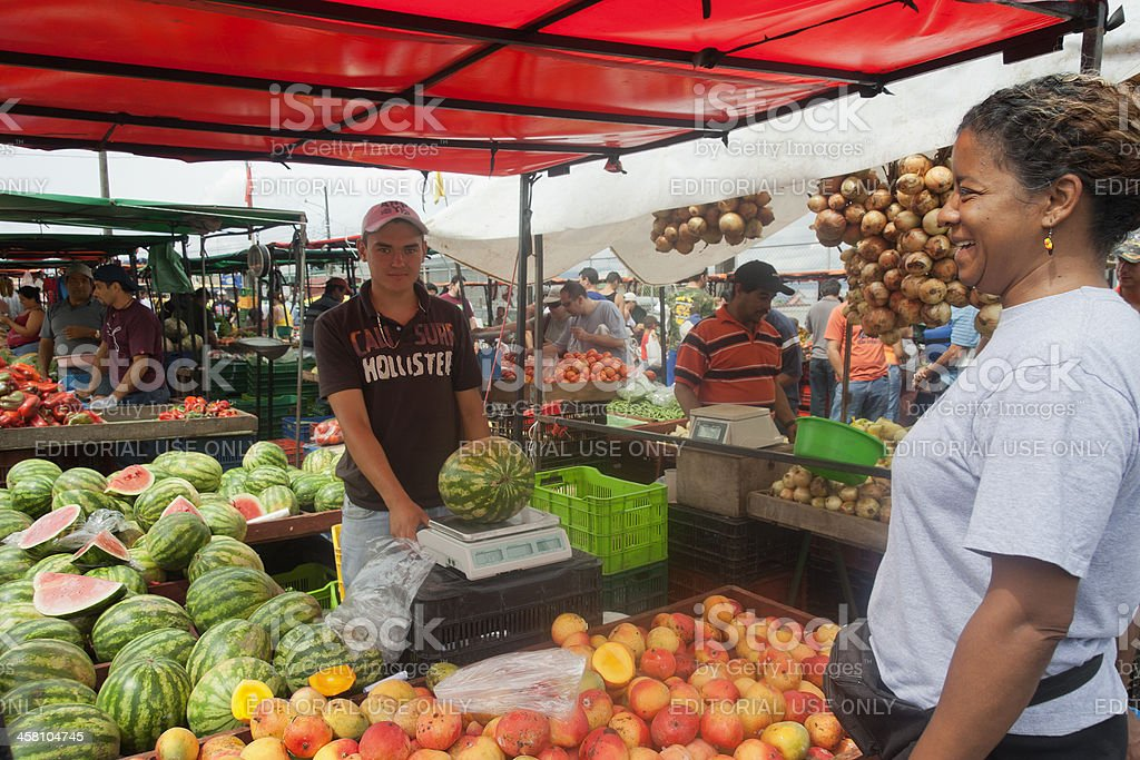 Woman shopping on farmer's market in San Jose, Costa Rica stock photo
