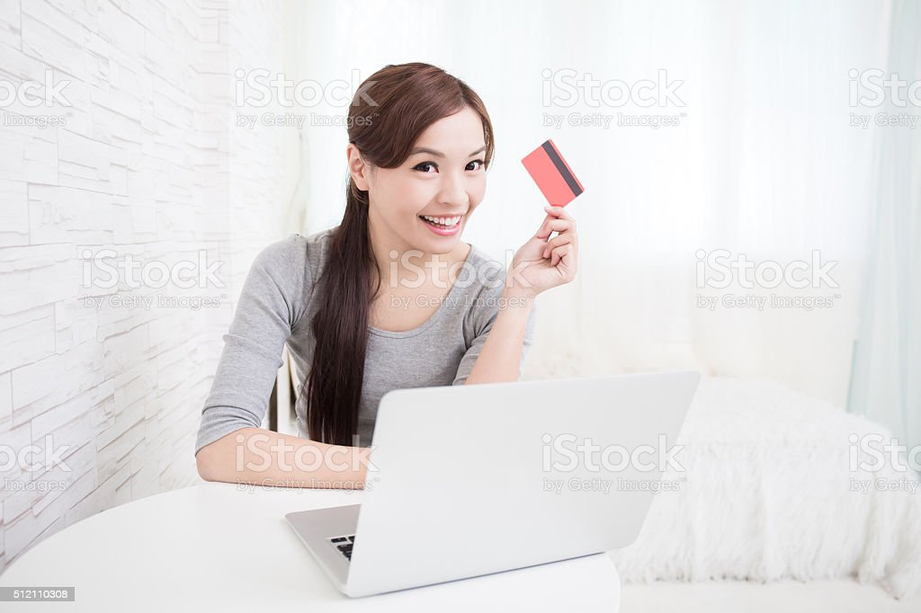 woman shopping on internet stock photo