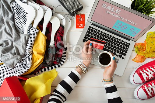 istock Woman shopping on internet 639223110
