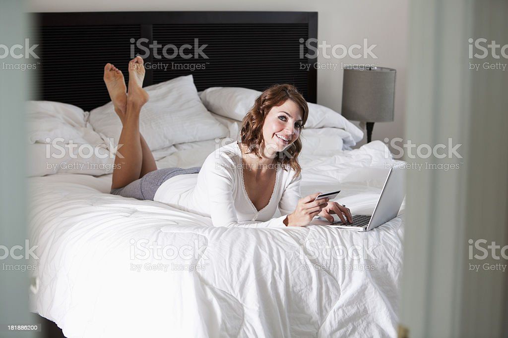 Woman shopping on the internet stock photo
