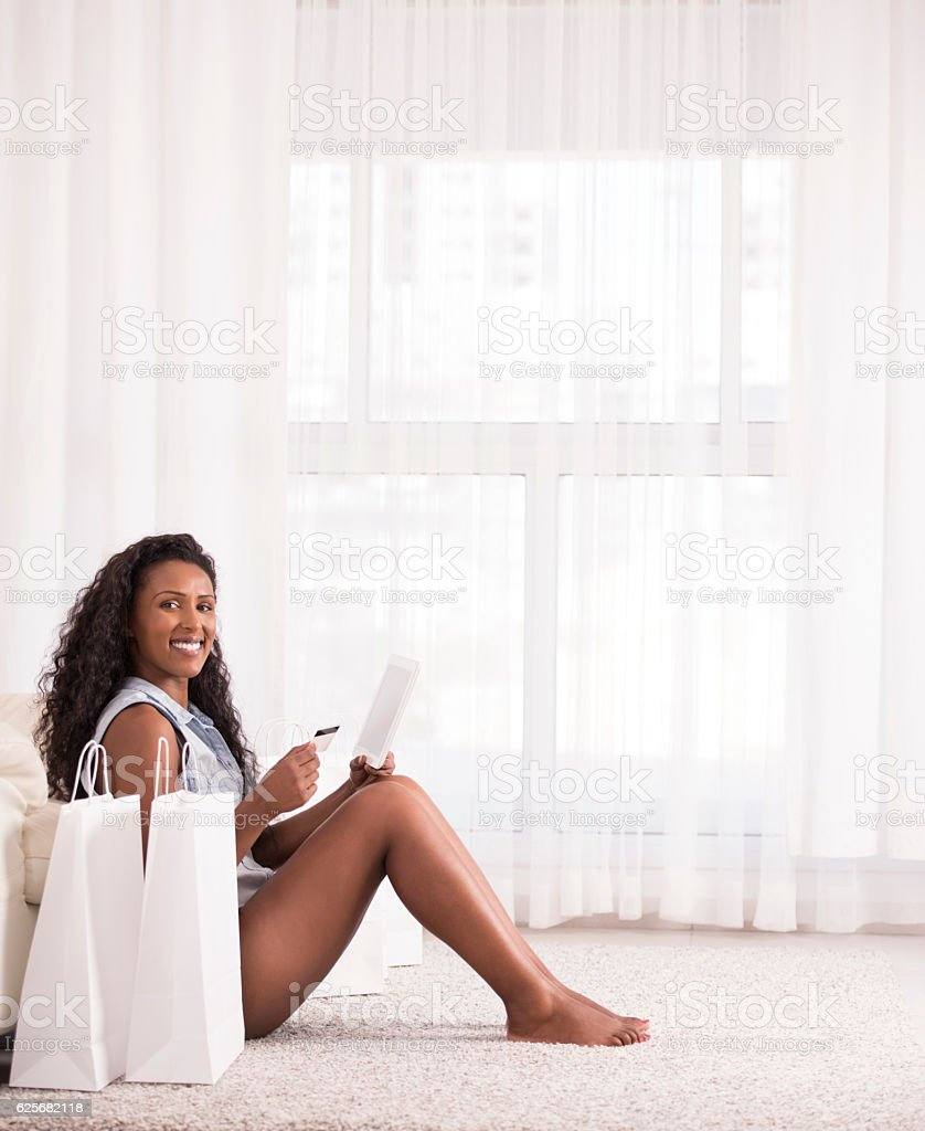 Woman shopping online. stock photo