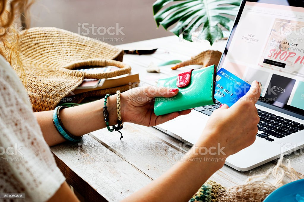 Woman Shopping Online Website Computer Concept – Foto
