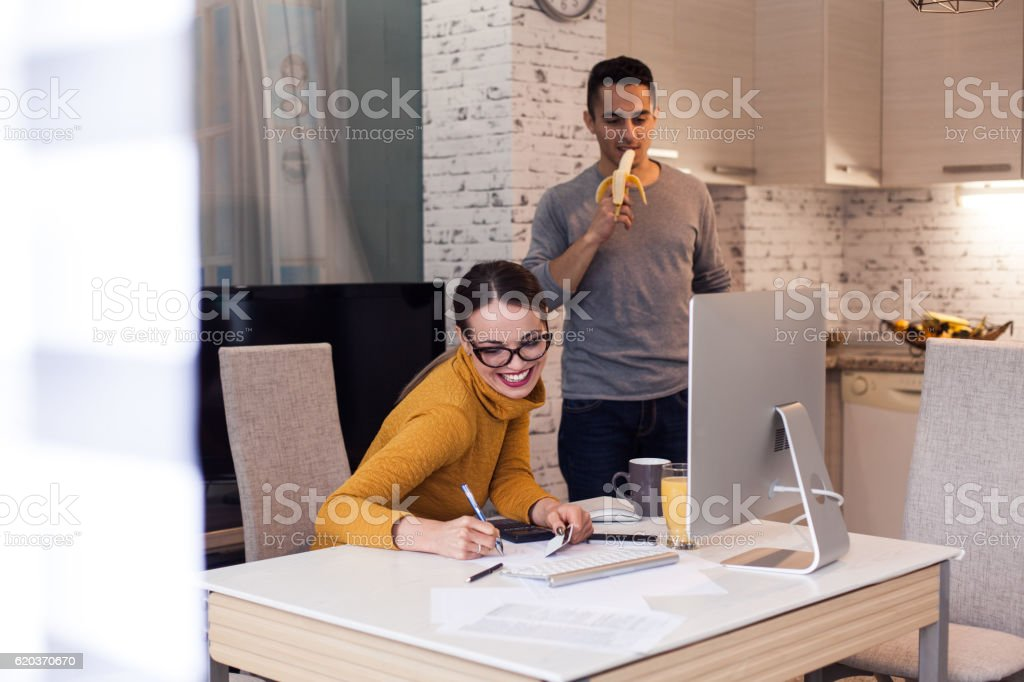 Woman Shopping online with computer foto de stock royalty-free