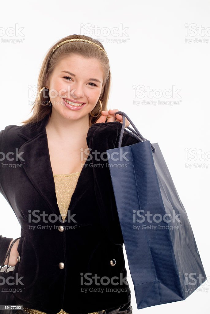woman shopping with a blue bag royalty-free stock photo