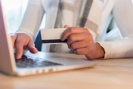 Woman shops online